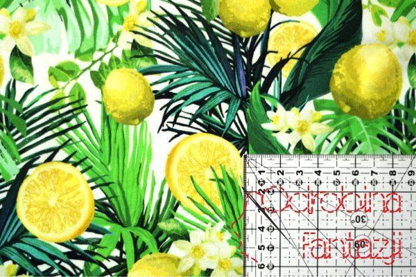 jersey na formowanki we wzór cytryny wśród liści i kwiatów