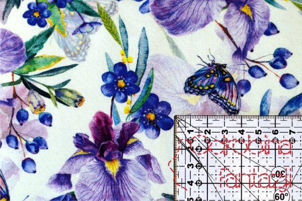 jersey na formowanki we wzór irysów i motyli w odcieniach fioletu