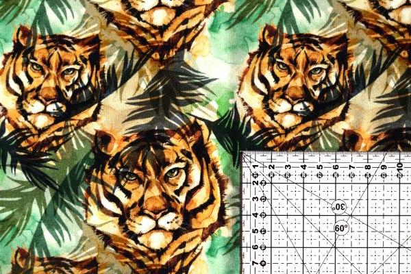 jersey na formowanki we wzór tygrysy i liście